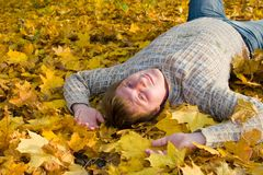 Rest on the autumn leaf Stock Image
