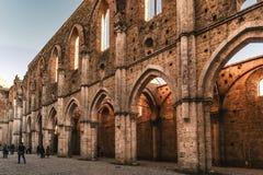 Rest av den Cistercian abbotskloster av San Galgano, Italien Royaltyfri Bild