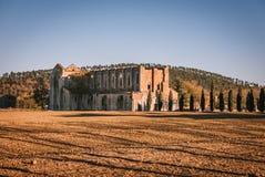 Rest av den Cistercian abbotskloster av San Galgano, Italien Royaltyfri Fotografi