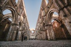 Rest av den Cistercian abbotskloster av San Galgano, Italien Royaltyfri Foto
