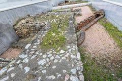 Rest av det romerska militära lägret på Michaelerplatz i Wien royaltyfria foton