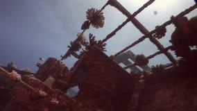 Rest av det sjunkna skeppet Salem Express som är undervattens- i Röda havet i Egypten arkivfilmer