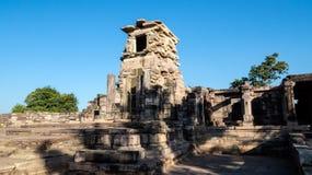 Rest av en buddistisk tempel på Sanchi Arkivfoto