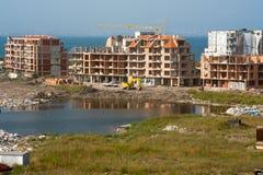 Rest av en liten salt sjö i Pomorie i Bulgarien Fotografering för Bildbyråer