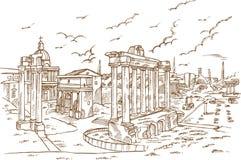 Rest av romanoen för tempel in foro, Rome, Italien royaltyfri illustrationer