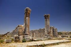 Rest av romerska monument Volubilis, Marocko Arkivfoto