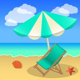 Rest on the beach, beach umbrella, sun lounger, sand and sea for. Decoration banner, flyer, booklet. Vector illustration Stock Photos