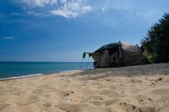 Rest on the beach in a tent Royalty Free Stock Photos