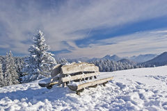 Rest bench in winter Royalty Free Stock Photo