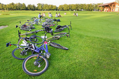 Rest with bicycles Stock Images