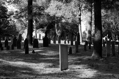 Rest in Black and White. 18th Century Church Cemetery amid a forest of pines in New England represented in black and white Stock Photos