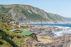 Rest camp at Storms River Mouth. STORMS RIVER MOUTH, SOUTH AFRICA - FEBRUARY 28, 2016:  The restaurant, chalets and the day visitor picnic site at Storms River Stock Images