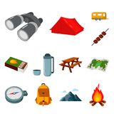 Rest in the camping cartoon icons in set collection for design. Camping and equipment vector symbol stock web. Rest in the camping cartoon icons in set Stock Images