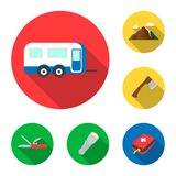 Rest in the camping flat icons in set collection for design. Camping and equipment vector symbol stock web illustration. Rest in the camping flat icons in set Royalty Free Stock Photography