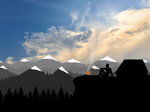 Rest climbers in the mountains. Concept of tourism and trave Stock Images