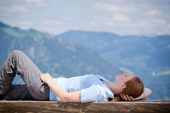 Rest from Climbing Up a Mountain Stock Images