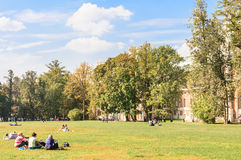 Rest on the grass. Museum-Reserve Tsaritsyno Royalty Free Stock Photo