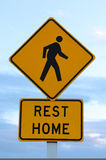 Rest Home Sign. Warning drivers to watch out for the elderly Royalty Free Stock Photo
