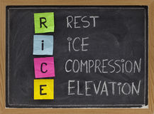 Rest, Ice, Compression, Elevation - medical acronym. RICE (Rest, Ice, Compression, Elevation) - humorous medical acronym for the treatment of certain leg and royalty free stock photography