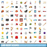 100 rest icons set, cartoon style Stock Photo