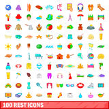 100 rest icons set, cartoon style. 100 rest icons set in cartoon style for any design vector illustration stock illustration