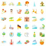 Rest icons set, cartoon style vector illustration