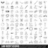 100 rest icons set, outline style Royalty Free Stock Photos