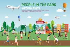 Rest im Vektordesign der infographic Elemente des Parks flachen Leute stock abbildung
