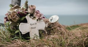 Free Rest In Peace Written In English On A Cross Stock Image - 157265851