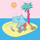 Rest on the  island. The rhinoceros has a rest on the desert island Royalty Free Stock Image