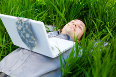 Rest with laptop Royalty Free Stock Photos