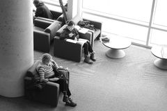 Rest in library. In the Great Library, a place to read and rest in Montreal Royalty Free Stock Photo