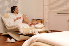 Rest after massage. Rest in spa center after massage Royalty Free Stock Photo