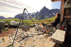 Rest at a mountain hut Stock Image