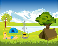 Rest on nature beside lake. Tents and campfire ashore lake by summer stock illustration