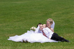 Rest of newly-married couple Royalty Free Stock Photo