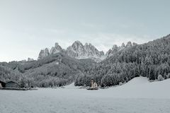 Rest in the north of Italy in winter.  Tour to the Dolomites. Stock Photo