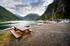 Rest In Norway. Beautiful place on Geiranger Fjord in Norway Royalty Free Stock Images