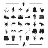 Rest, paintball, fishing, child and other web icon in black style. computer, education, insect icons in set collection. Rest, paintball, fishing, child and Royalty Free Stock Photo