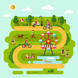 Rest in the park. Flat design vector summer landscape illustration of park with sunbathing girl, ferris wheel, road, bench, walking people, cyclists, pond with Stock Photography