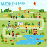 Rest in the park infographic elements flat vector design. People spend time relaxing in nature. Parents and children are. Walking in the park, a couple in love Stock Image