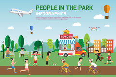 Rest in the park infographic elements flat vector design. People Royalty Free Stock Image