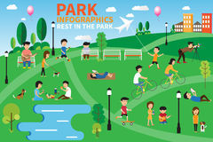 Rest in the park infographics elements, people having activities. In the park, vector illustration Stock Photos