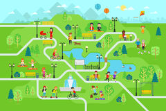 Rest in the park map infographic elements in flat vector design. People spend time relax in nature. Men, women and children rest, jog, ride the bicycle Royalty Free Stock Photo