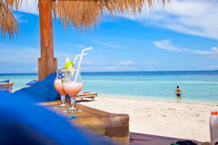Rest pavilion on tropical beach. Rest pavilion and cocktails on tropical beach, Gili island, Trawangan, Indonesia Stock Images
