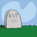 Rest in peace. Illustration of a cartoon tombstone with R.I.P written on it Stock Photo