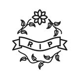 Rest In Peace. Peace, rest, tombstone icon vector image. Can also be used for funeral. Suitable for mobile apps, web apps and print media Stock Image