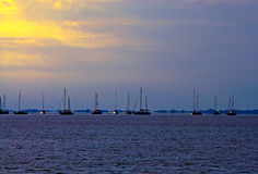 At Rest. A photograph sailboats anchored in the bay for the evening Royalty Free Stock Images