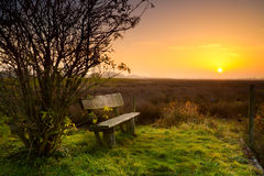 Rest place with bench at sunrise. Rest place with wooden bench at calm sunrise Royalty Free Stock Photo