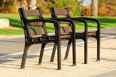 Rest place. Benches in the park in old Tel Aviv port. Israel Royalty Free Stock Photos